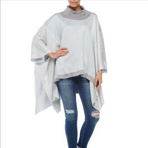 Over Sized, Block Color, Poncho Sweater